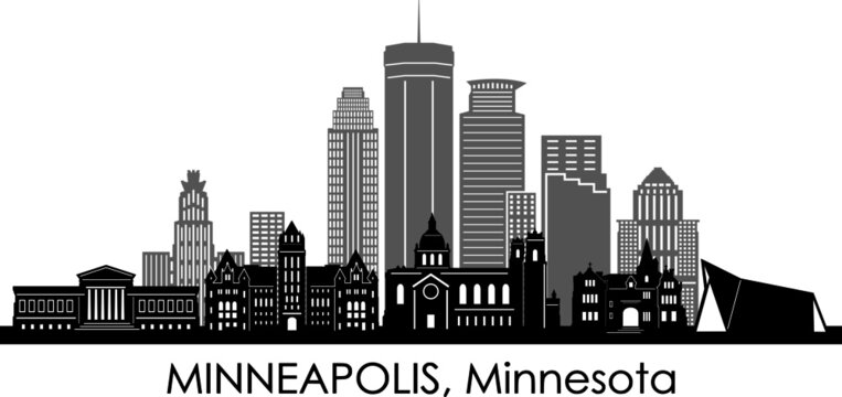 MINNEAPOLIS City Minnesota Skyline Silhouette Cityscape Vector