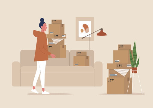 Young female character holding cardboard boxes, moving to a new apartment, relocation, home interior
