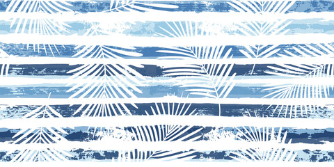 Tropical pattern, palm leaves seamless vector floral background. Exotic plant on blue stripes print illustration. Summer nature jungle print. Leaves of palm tree on paint lines. ink brush strokes