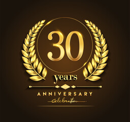 30th gold anniversary celebration logo with golden color and laurel wreath vector design.