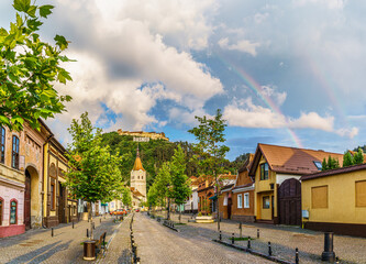 Wall Mural - Landscape with Rasnov town and medieval fortress after rain, Brasov, Transylvania, Romania
