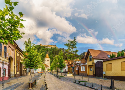 Wall mural Landscape with Rasnov town and medieval fortress after rain, Brasov, Transylvania, Romania
