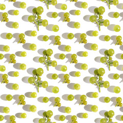 Fototapete - seamless pattern of green grapes  with hard shadow close-up, top view, flat lay. Food background.