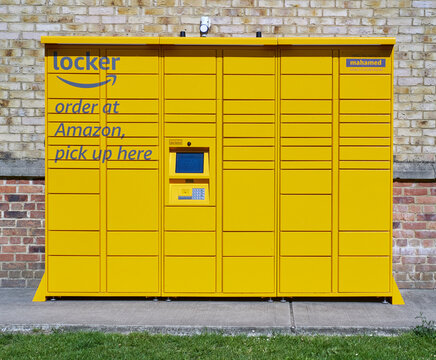 London, England - May 08, 2020: Amazon Locker is a self service kiosk for safely collecting online orders, Amazon.com, Inc was founded by Jeff Bezos in July 1994
