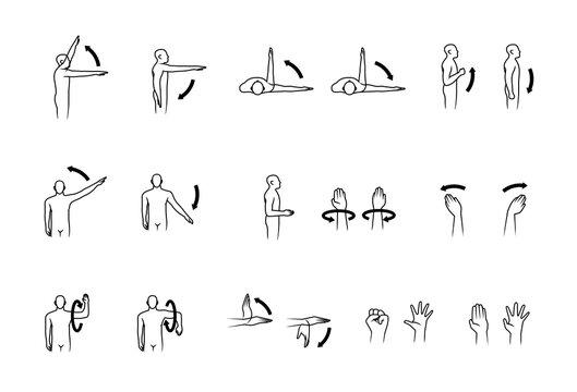 human range of motion, human hand and arm movement icon set