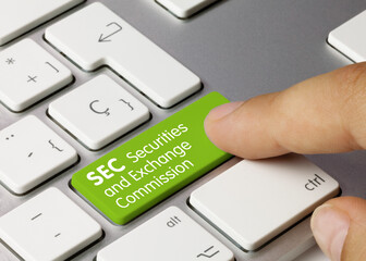 SEC Securities and Exchange Commission - Inscription on Green Keyboard Key.