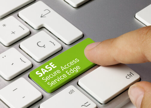 SASE Secure Access Service Edge - Inscription on Green Keyboard Key.