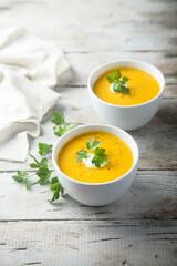 Homemade creamy pumpkin soup