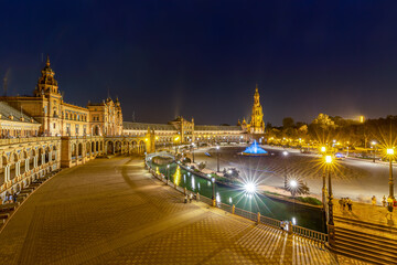 Night at the Plaza de Espana in Seville, Andalusia, Spain.
