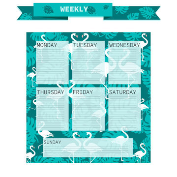 Weekly. Tropical flamingo. Vector weekly. Days of the week on a green background