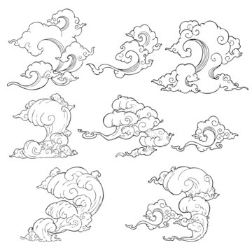 illustration Japanese cloud or Chinese cloud oriental style vector collection set with white background