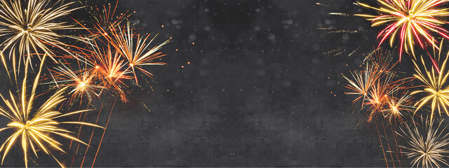 Silvester background banner panorama long- firework on rustic dark black grey stone concrete...