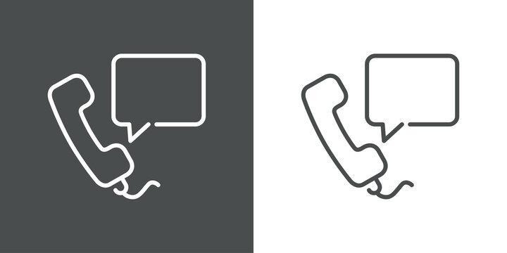 Concepto comunicación telefónica. Icono plano lineal auricular de teléfono con burbuja de habla en fondo gris y fondo blanco