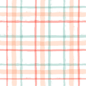 Gingham seamless pattern. watercolor pastel strokes texture for textile: shirts, plaid, tablecloths, clothes, bedding, blankets, makeup. vector checkered summer girly print