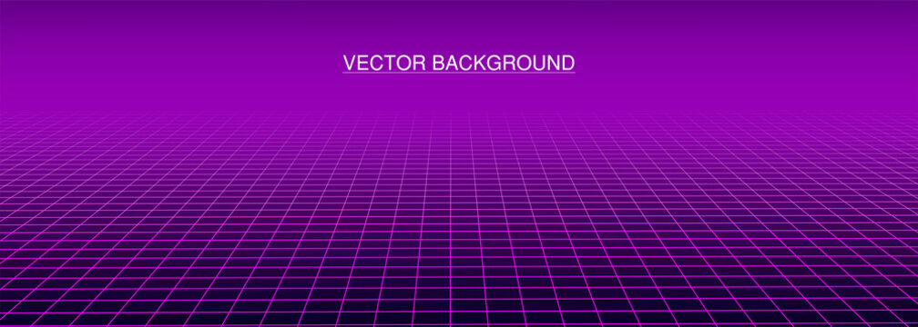 Grid on purple background. Retro future. Abstract retro background in 80s style. 3d wireframe landscape. Perspective. Vector illustration.