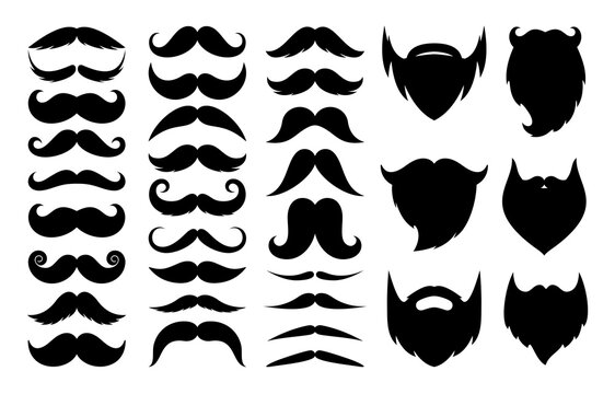 Set of moustache. Vector collection of black silhouettes mustaches and beards for logo, icon, booth, accessories, father's day isolated on white background. Moustache gentleman. Men health symbol
