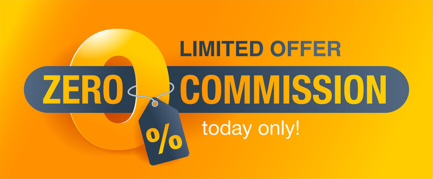 0 zero commission special offer banner template with yellow background - vector promo limited offers flyer