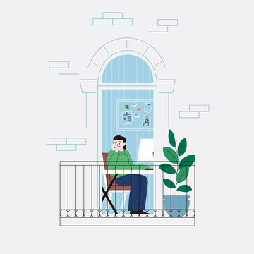 Flat illustration of a sad and lonely woman working from home, staying home for the quarantine. Facade of an apartment house balcony door.