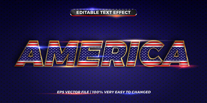 Editable text effect - USA word with its national country flag. Text effect style in 3d America, text effect theme editable metal gold color concept. 4th of july. Labor day.