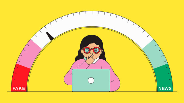 Woman rating media information on fake news scale