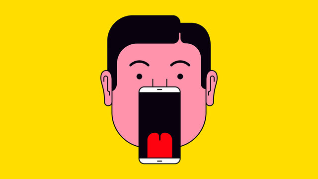 Man with smart phone as open mouth