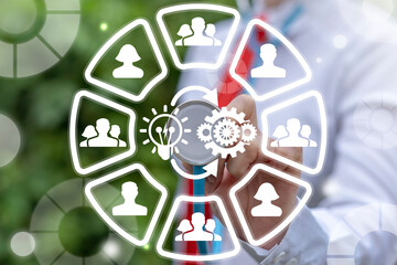 Concept of Implementation Idea Business Success. Implement Successful Teamwork.