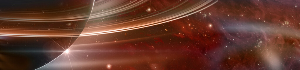 Fototapeten Violett rot Planet saturn with rings at sunrise on the space background, panoramic view. Elements of this image furnished by NASA.