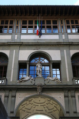 Detail of the Uffizi museum, Florence, Italy, famous touristic place