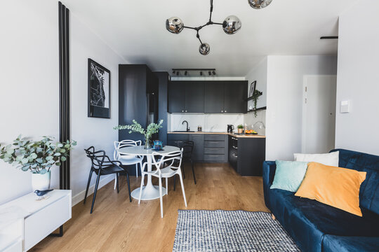 Living room with kitchen annexe in a modern studio apartment for rent