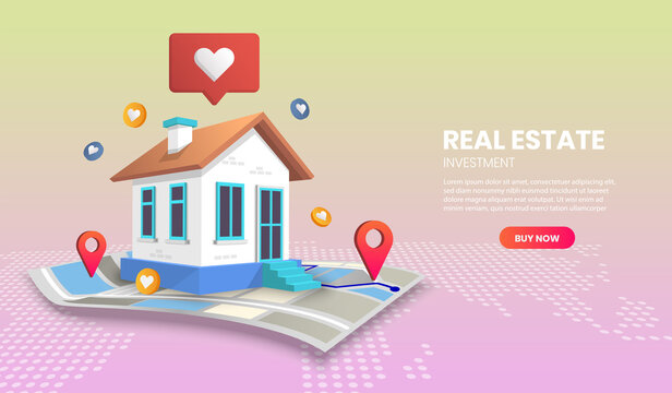 real estate landing page concept on map vector.suitable for banner application.