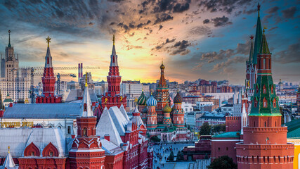 St. Basil's Cathedral ancient architecture on Red Square in Moscow City, Beautiful ancient architecture building in Moscow City, St. Basil's Cathedral church Vasily the Blessed, Russia, Bucket list
