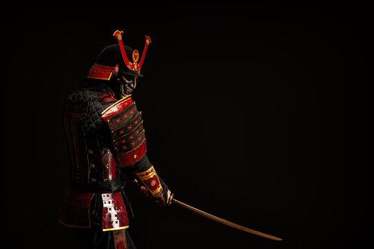 Portrait of a samurai in armor in attack position