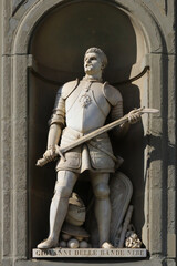 Statue of Giovanni dalle Bande Nere (Joseph of the black bands) politic chief of the renaissance period, Florence, Italy