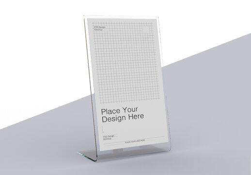 Acrylic Table Tent with Card Holder Mockup