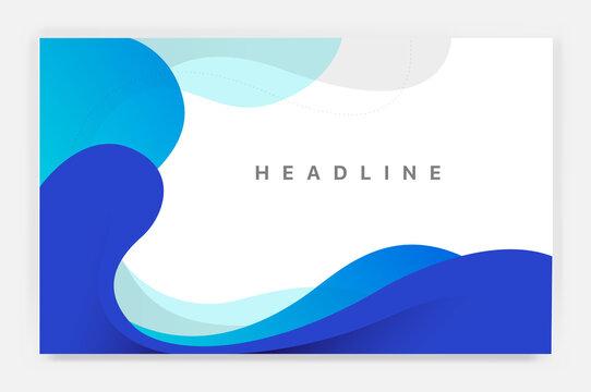 Sfondo con onde blu con lo spazio per titolo e testi