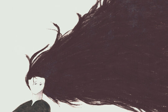 illustration of woman flowing hair in the wind