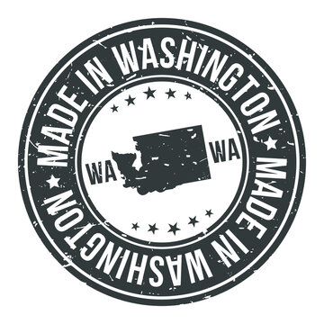 Made in Washington State USA Quality Original Stamp Design Vector Art.