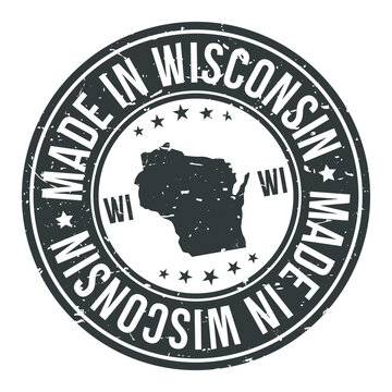 Made in Wisconsin State USA Quality Original Stamp Design Vector Art.