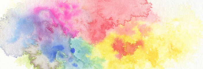 Abstract color watercolor cloud and ink blot painted background.