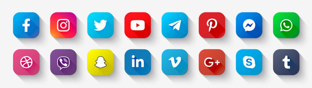 Social media icons: facebook, instagram, youtube, twitter, viber, whatsapp, skype, telegram, pinterest, linkedIn, dribbble, Vimeo, messenger, snapchat, Tumblr