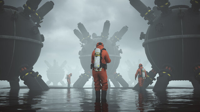 Man Hazmat Suit with Gas Mask and Breathing Apparatus Standing in Water Surrounded by Large Sci-fi Objects and Black Sand 3d illustration 3d render
