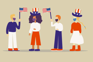 Illustration of a group of people with face masks celebrating 4th July Independence Day in the USA