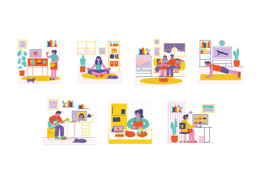 Stay at Home Activities Graphics Illustration Set