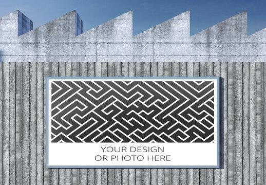 Brutalist Architecture Wall Horizontal Billboards Mockup