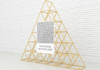 Contemporary Wooden Stand Vertical Poster Mockup