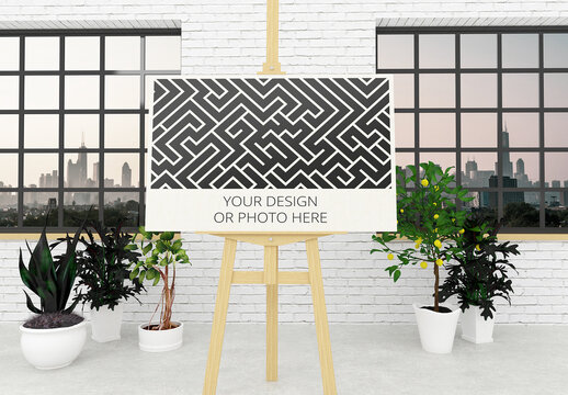Horizontal Poster Easel Stand Mockup with Contemporary Interior