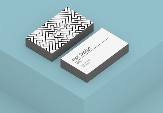 Isometric Minimalist Business Card Mockup with Editable Background