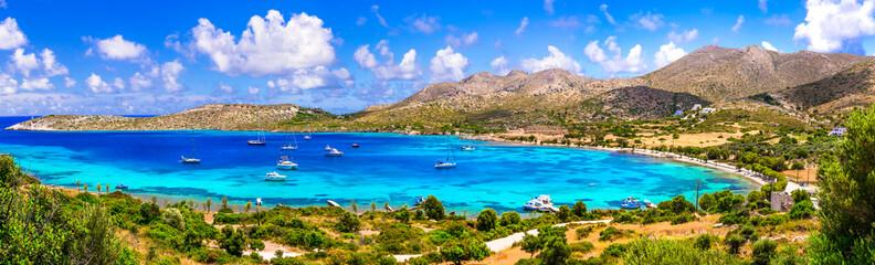 Greece summer holidays. best beaches of Leros island - Agia Kioura beach. Dodecanese