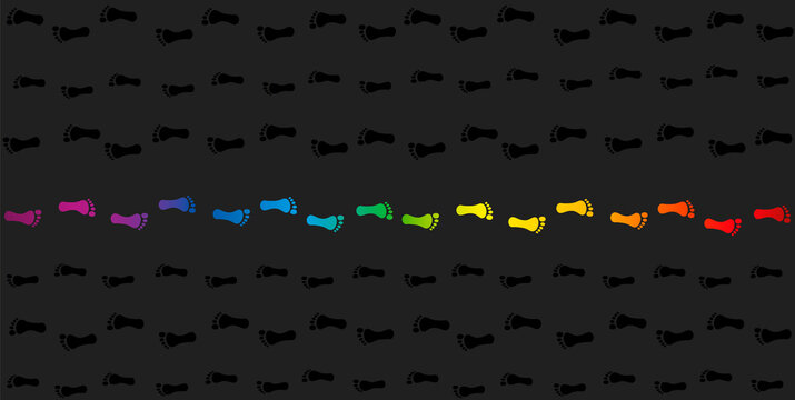 Footmark against the current. Rainbow colored footprints in opposite direction to the crowd. Symbol for courage, individuality, diversity or being an outsider. Vector on gray background.