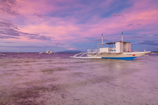 Colorful sunset at a beach on Panglao Island, Bohol, Philippines